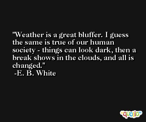 Weather is a great bluffer. I guess the same is true of our human society - things can look dark, then a break shows in the clouds, and all is changed. -E. B. White