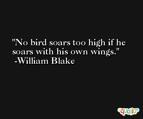 No bird soars too high if he soars with his own wings. -William Blake