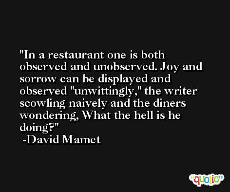 In a restaurant one is both observed and unobserved. Joy and sorrow can be displayed and observed 'unwittingly,' the writer scowling naively and the diners wondering, What the hell is he doing? -David Mamet