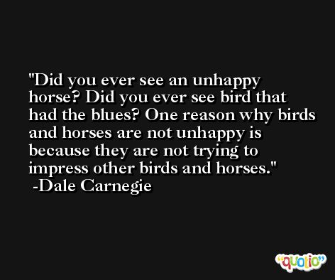 Did you ever see an unhappy horse? Did you ever see bird that had the blues? One reason why birds and horses are not unhappy is because they are not trying to impress other birds and horses. -Dale Carnegie