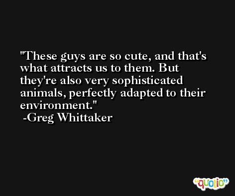 These guys are so cute, and that's what attracts us to them. But they're also very sophisticated animals, perfectly adapted to their environment. -Greg Whittaker
