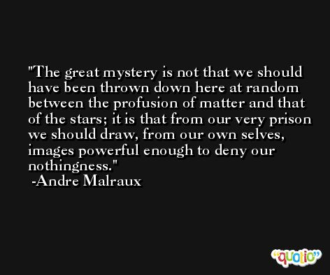 The great mystery is not that we should have been thrown down here at random between the profusion of matter and that of the stars; it is that from our very prison we should draw, from our own selves, images powerful enough to deny our nothingness. -Andre Malraux