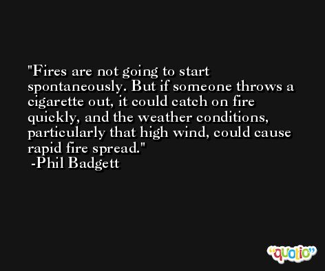 Fires are not going to start spontaneously. But if someone throws a cigarette out, it could catch on fire quickly, and the weather conditions, particularly that high wind, could cause rapid fire spread. -Phil Badgett