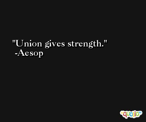 Union gives strength. -Aesop