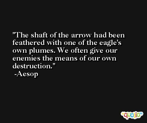 The shaft of the arrow had been feathered with one of the eagle's own plumes. We often give our enemies the means of our own destruction. -Aesop