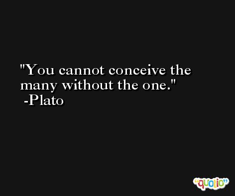 You cannot conceive the many without the one. -Plato