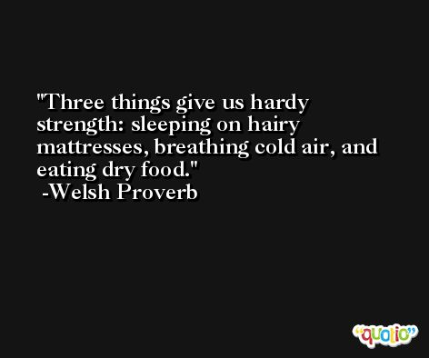 Three things give us hardy strength: sleeping on hairy mattresses, breathing cold air, and eating dry food. -Welsh Proverb