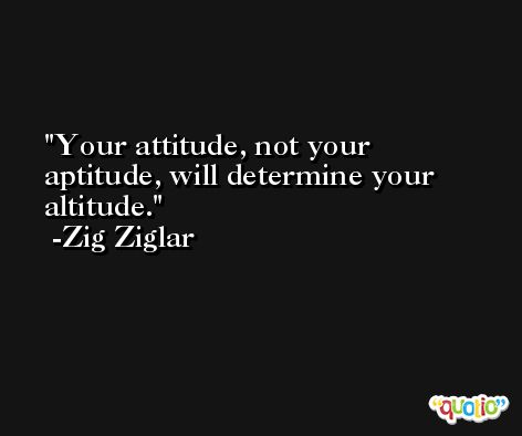 Your attitude, not your aptitude, will determine your altitude. -Zig Ziglar