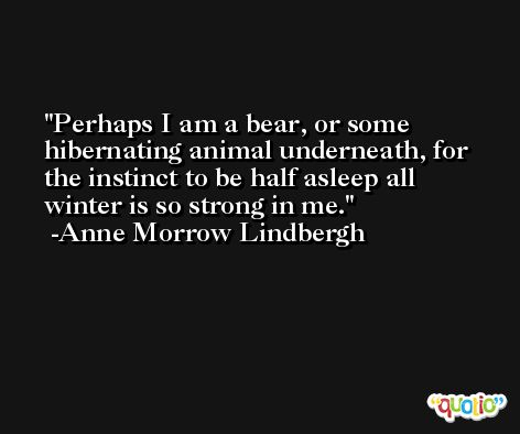 Perhaps I am a bear, or some hibernating animal underneath, for the instinct to be half asleep all winter is so strong in me. -Anne Morrow Lindbergh