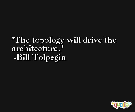 The topology will drive the architecture. -Bill Tolpegin
