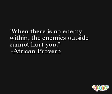 When there is no enemy within, the enemies outside cannot hurt you. -African Proverb