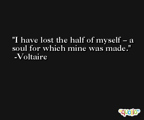 I have lost the half of myself – a soul for which mine was made. -Voltaire