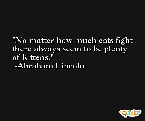 No matter how much cats fight there always seem to be plenty of Kittens. -Abraham Lincoln